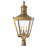 One Kings Lane - Visual Comfort - Sussex Large 3-Light Post Lantern, Brass