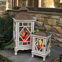 One Kings Lane - Outdoor Accents - S/2 Farmhouse Chinoiserie Lanterns