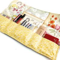 Make up organizer lady in yellow, Makeup Storage Roll, Cosmetic pouch, travel makeup bag