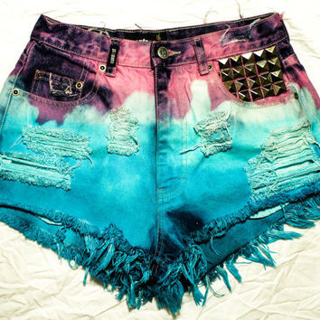 Etsy Transaction -        pink, aqua, white / vintage denim / pyramid studs  destroyed / high waisted shorts