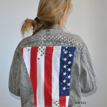 Etsy Transaction -        Studded America - Flag Jacket on Grey stone wash Denim