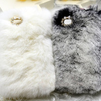 Handmade Warm Fur Case for Samsung Galaxy Note 2: Lovely Seto Rabbit Skin with Rhinestones Around the Camera Hole (custom are welcome)