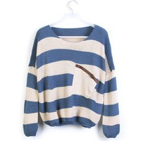 Blue Striped Bat Long Sleeve Sweater