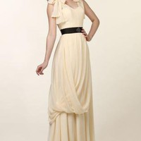 Off-white Longer Lengths Dress - Magnolia Sleeveless Chiffon Gown by | UsTrendy