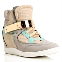Mint/Multi Metal Bar Sneaker Wedge