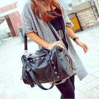 Vintage Style Rivets Black Tassel Handbag &amp;Shoulder Bag just $29.99 only in ByGoods.com