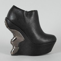 Marsiano-2 Metal Plated Carved Curved Wedge Bootie