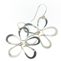 Handmade Sterling Silver Hanging Flower Earrings with Citrine