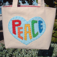 Canvas Tote Bag, Peace & Love 60's Collection