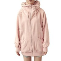 Woman Pink Ribbed Cuffs Hem Raglan Sleeve Hooded Causal Winter Coat S