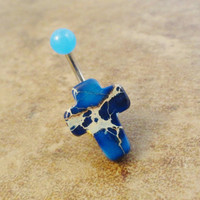 Blue Jasper Cross Belly Button Ring Jewelry