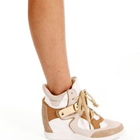Nude/Multi Metal Bar Sneaker Wedge