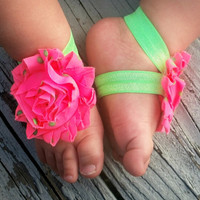 Baby Barefoot Sandals..Watermelon Pink..Toddler Sandals..Newborn Sandals