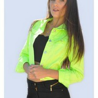 Neon Green Denim-Look Cropped Jacket