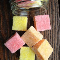 Fruit Salad Sugar Cubes (Organic) Juicy Pineapple, Sweet Peach, Pink Grapefruit Sugar Scrub