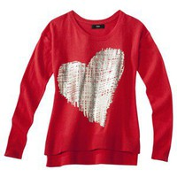Mossimo® Women's Long Sleeve High-Low Sweater w/ Gold Foil Heart -Red XS