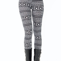 tribal-printed-leggings BLACKWHITE - GoJane.com
