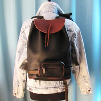 large pebble leather unique backpack. two tone leather backpack. hipster backpack. leather messenger
