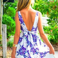 Floral Print Sleeveless Dress with Deep V Front &amp; Back