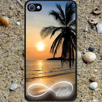 Iphone case Infinity Love Beautiful Sunset Beach Iphone 4 case cool awesome Iphone 4s case