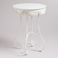 White Round Olivia Accent Table