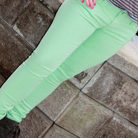 Vigoss Denim Skinny Jagger In Mint - Bliss Salon and Boutique