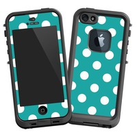 "Amazon.com: White Polka Dot on Turquoise ""Protective Decal Skin"" for LifeProof 5 Case: Electronics"