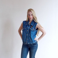 long vest / jean vests / blue jean vest / vest women