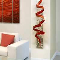 Abstract Metal Wall Art Sculpture / Red Orange by statements2000
