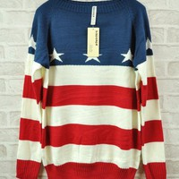 Red Flag Retro Striped Sweater