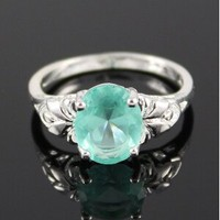 Blue cubic zirconia sterling silver ring