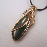 Wire Wrapped Pendant Green Jasper in Copper and by UptightWanda