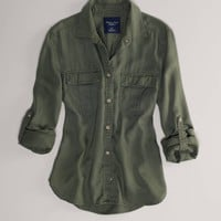 AEO Women's Girlfriend Shirt (Olive)
