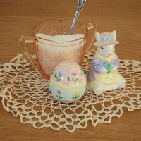 """Easter Parade"" Ceramic Rabbit & Egg Salt & Pepper Set from Smiling Cat Designs"
