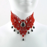 Red Lace Choker Gothic Victorian Choker Necklace with Black Onyx Stone and Silver Setting - Glass Teardrop Beads - Goth Chocker Vampire