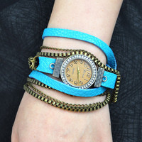 Handmade Metal Chain Leather Wrap Watch