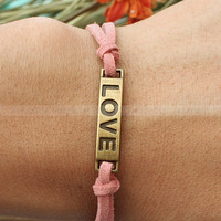 Love bracelet-vintage true love bracelet-Pink cord bracelet