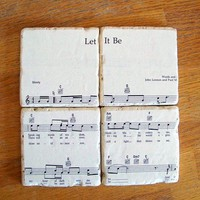Beatles Sheet Music Coasters You Choose The by CarolinaCottage