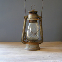 Antique Lantern Lamp Vintage rusted Railroad Lamp by MeshuMaSH