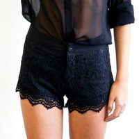 (Black) Sexy Little Teel and Lace Shorts