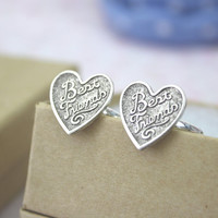Best Friends Ring Set Silver Heart Friendship
