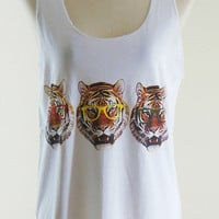 Family Tiger Glasses Shirt -- Tiger Shirt Animal Shirt White T-Shirt Tunic Sleeveless Vest Tank Top women Shirt Singlet Size M