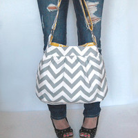 Handbag purse Chevron zig zag Large gathered hobo by FromKtoZ