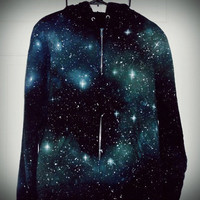 Starry GreenishBlue Nebula Hoodie by Talcs on Etsy