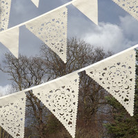 Luxury outdoor wedding, triangle lace flags, ivory bunting