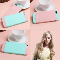 two color pink blue mix impact case for iphone5