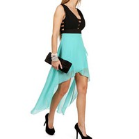 Mint Side Bar Hi Lo Dress