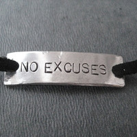 NO EXCUSES Wrap Bracelet  - Inspirational Jewelry - Nickel Silver Pendant on 3 feet of Micro Fiber Suede - CrossFit - Fitness