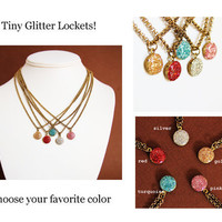 Teeny Tiny Glitter Charm Locket NecklaceSingle by HeartworksByLori