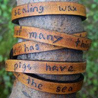 Ultra Long Hand Carved Custom Quote Leather Wrap by Cjohannesen